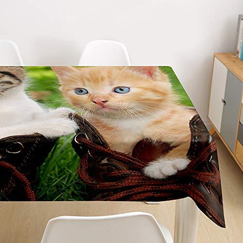 Morbuy 3D Nappe Rectangulaire Chat Imprimé Anti Tache Nappe de Table Imperméable Lavable et Facile d'entretien pour Ménage Table Basse Jardin Extérieure Picnic (Chaton,140x180cm)