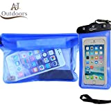 ANJ Outdoors 3-Zipper Design, The Most Durable 2PK Waterproof Pouch/Waterproof Bag | Adjustable Waist Strap | Ideal Waterproof Phone Case/Waterproof Wallet for Boating and Fishing (Blue Pouch/Case)