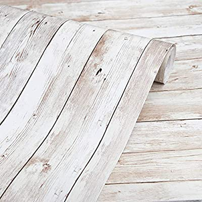 Abyssaly Wood Wallpaper Self-Adhesive Removable Wood Peel and Stick Wallpaper Decorative Wall Covering Vintage Wood Panel Interior Film Easy to Clean