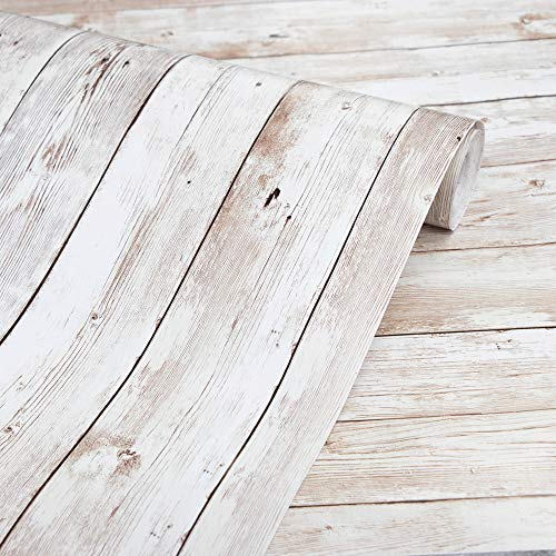 Faux Wood Shelf Drawer Liner Self Adhesive Vinyl Contact Paper Covering for Kitchen Cabinets Cupboard Counter Top Table Desk Funiture Door Wall Decal Sticker Beige, 15.7x197