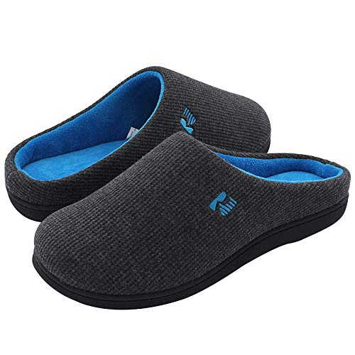 RockDove Men's Original Two-Tone Memory Foam Slipper, Size 9-10 US Men, Dark Gray/Blue