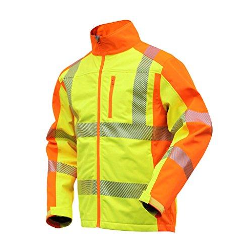 NEU! ELDEE YO-HiViz Softshelljacke, moderne Warnschutzjacke, gelb/orange mit Reflexsteifen, Gr. S - XXXL (XL)