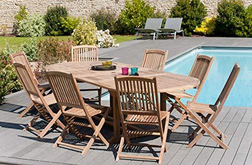 MACABANE 501006 Table Ovale Double extensioncouleur Brut en Teckdimension 200/300cm X 120cm X 75cm