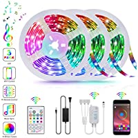 Tatufy 50Ft/15m Music Sync Color Changing Smart LED Lights
