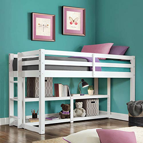 Better Homes and Gardens Loft Storage Bed with Spacious Storage Shelves, Multiple Finishes, White