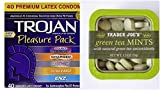 Trojan Pleasure Pack Premium Lubricated Latex Condoms, 40 Count & Trader Joe's Green Tea Mints Bundle.