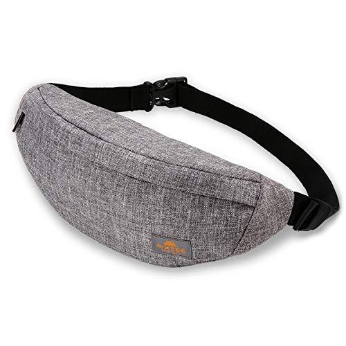 RIXESS waterdichte heuptas - stijlvol grijs - heuptas voor dames en heren - Fanny Pack - ruime en toch platte heuptas - tas voor sport, joggen, reizen en avonturen