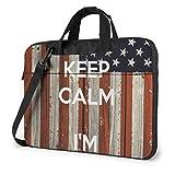 Vintage Keep Calm Ich Bin amerikanische Flagge Laptop-Tasche Notebook Computer Schutzhülle Anti-Scratch Handtasche Umhängetasche