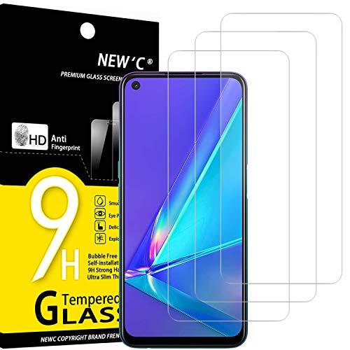 NEW'C 3 Stück, Schutzfolie Panzerglas für Oppo A72, Frei von Kratzern, 9H Festigkeit, HD Bildschirmschutzfolie, 0.33mm Ultra-klar, Ultrawiderstandsfähig
