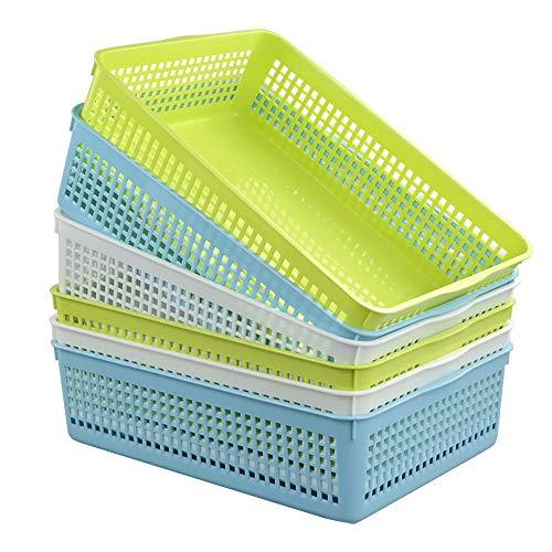Ucake A4 Plastic Storage Baskets Trays, Blue Green White, 6 Pack