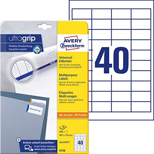 AVERY Zweckform 6126 Universal Etiketten (mit ultragrip, 48,5 x 25,4 mm auf DIN A4, Papier matt, bedruckbar, selbstklebend, 400 Klebeetiketten auf 10 Blatt) weiß
