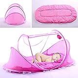 Sommer Moskitonetz für Kinder, Portable Folding Baby Reisebett Kinderbett Babybetten Neugeboren Faltbare Krippe für 0-3 Jahre - Rosa