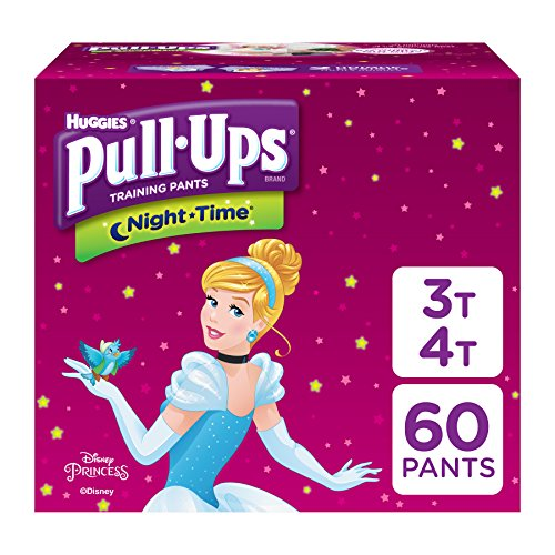 Pull-Ups Night-Time, 3T-4T (32-40 lb.), 60 Ct, Potty Training Pants for Girls, Disposable Potty Training Pants for Toddler Girls (Packaging May Vary)