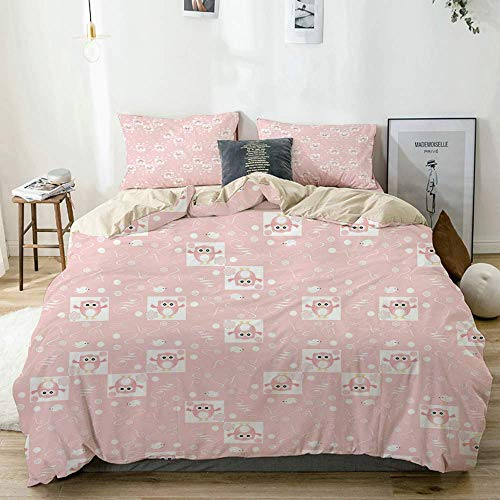 772 soft microfiber Duvet Cover Set Kids Pink Owls Birds Floral Print Beige Decorative 3 Piece Bedding Set with 2 Pillow Shams Double Size