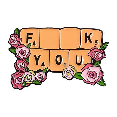 ZWLZQ Broschen Brosche Rose Blumen Tastatur Emaille Abzeichen Brosche Pins Tasche Kleidung Revers Pflanze Schmuck Zubehör
