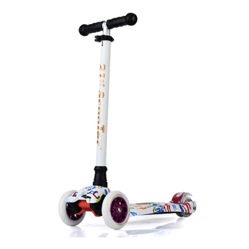フラッシュスクーターベビーカー屋外のおもちゃ子供のおもちゃ(斑点落書き)で21スクーター鋭いワシスクーター子供スクーター[バスケット+すごい光+風車+吹流しを送る]