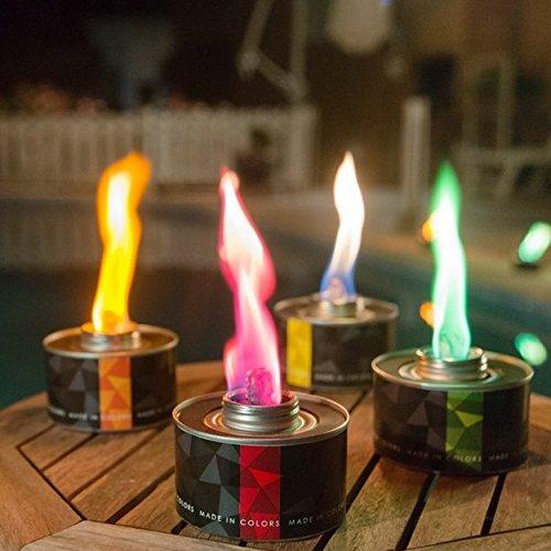GARTENPAUL Made in Colors 4er Set Color Torch inkl. 1x Dreibein Ständer | farbige Gartenfackel | Farben Orange, Gelb, Grün und Rot | ohne Duft-Ring-Diffuser