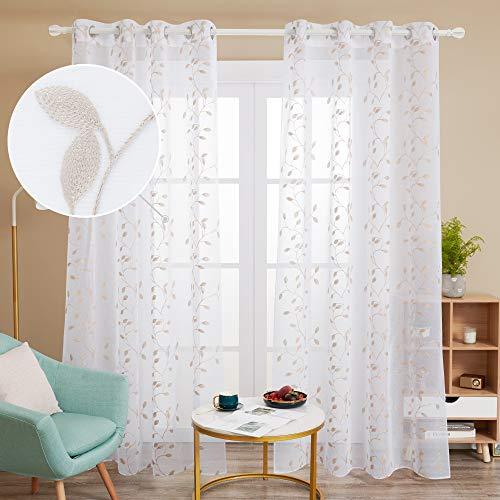 Deconovo Tende Trasparenti in Voile Ricamate per Salotto Moderne con Occhielli 140x290cm Lino 2 Pannelli