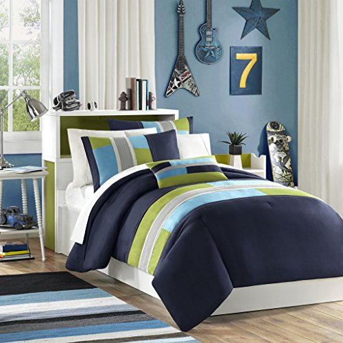 Urban Living Blue, Khaki & Green Striped Teen Boys Twin Comforter Set (3 Piece Bed in A Bag)