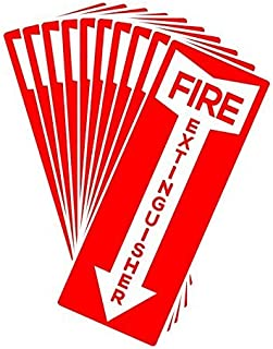 Set of 10 Self Adhesive Fire Extinguisher Signs, 4.25