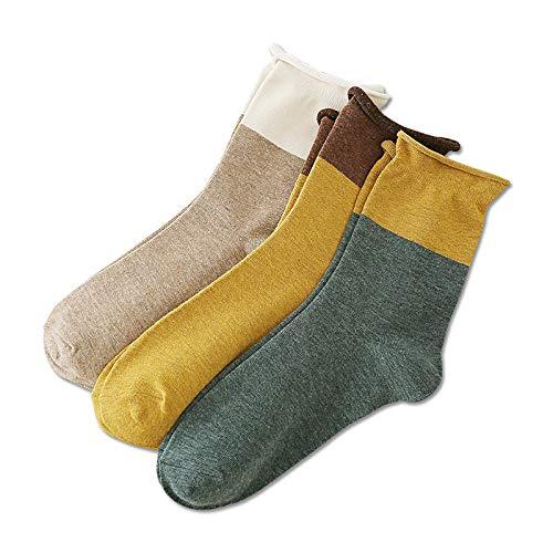 XINDUO Calcetines de Algodón para Mujer Calcetines,Calcetines de algodón rizados a Juego de Color otoño e Invierno 10 Piezas-cúrcuma,Calcetines Termicos de Mujer