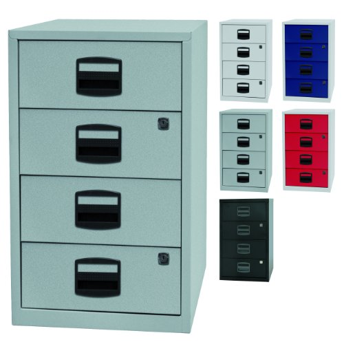 PFA bijzetkast, voor kantoor met 4 schuifladen van metaal, geschikt voor cd's, afsluitbaar, 5 kleuren zilver