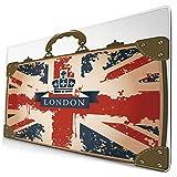 MUYIXUAN Alfombrilla Raton Maleta de Viaje Vintage con Imagen de Cinta y Corona de Bandera británica de Londres...