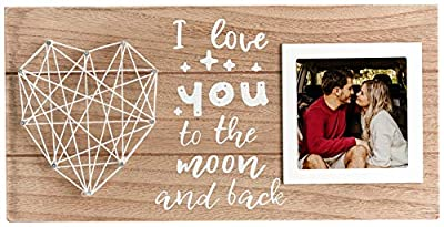 Wooden Picture Frame, 3x3 Rustic Photo Frame for Tabletop Display and Wall Mounting, Love Gifts for Mom, Dad, Girlfriend, Wife, Boyfriend, Husband, Son and Daughter (I love you to the moon and back)
