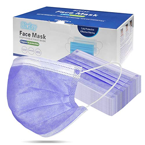 Biwisy 50 Pcs Disposable 3 Ply Safety Face Mask Non-Woven Breathable Masks Purple