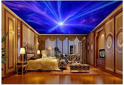 mznm 3D 3D Tapete Deckenleuchte Tapete Wandmalereien The Night Sky Universe Aurora Hintergrund Wandmalereien 3D Wall Decor 280x200cm