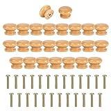 Colmanda Pomos para Cajones, 25 Piezas Tiradores de Cajón Forma de Hongo Pomo Madera Tiradores de Muebles con Tornillo Pour Mueble Armario Puerta Tiradores Manijas