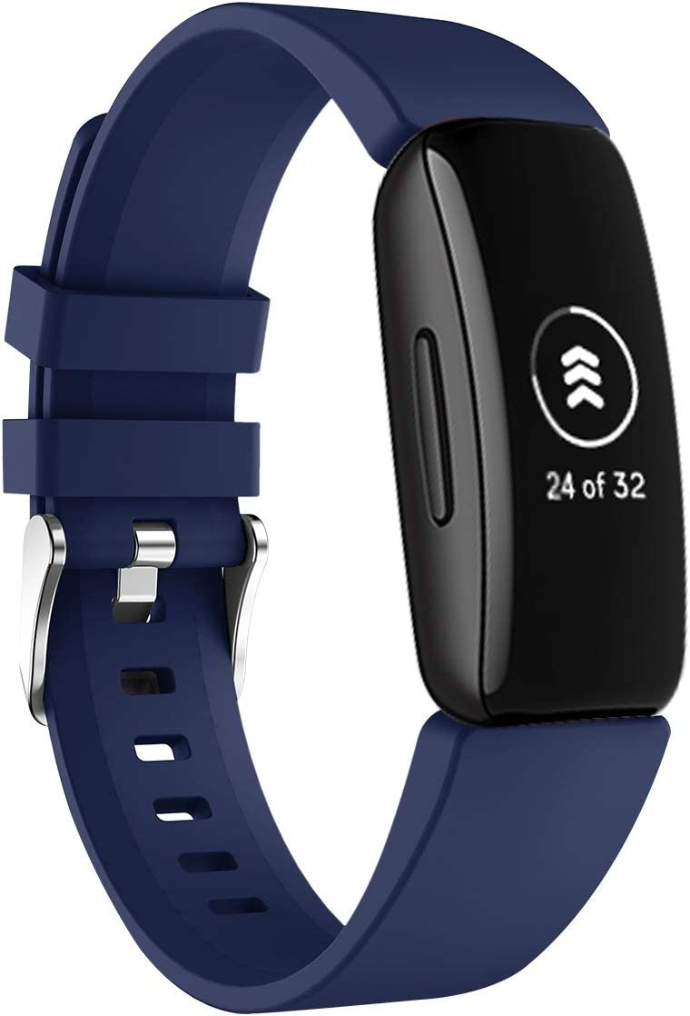 KARTICE Compatible with Fitbit Inspire Bands Inspire HR Band Soft Silicone Sports Replacement Accessories Bands for Fitbit Inspire [Dark Blue]