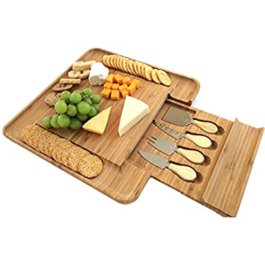 Bamboo Cheese Board with Cutlery Set | Premium New Design BPA Free Wooden Platter with Slide-out Drawer and 4 Piece Stainless Steel Serving Set | Great Housewarming or Wedding Gift Idea