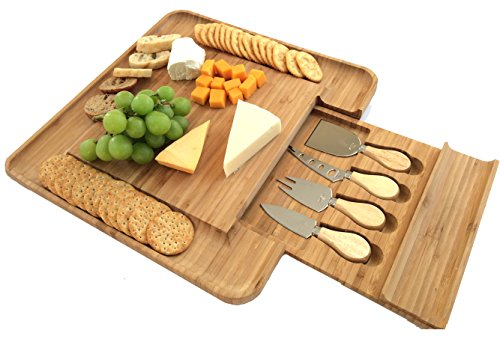 100% Bamboo Cheese Board with Cutlery Set | Wooden Serving Platter with Slide-out Drawer & 4 Piece Stainless Steel Serving Set | Novelty Housewarming, Wedding Gift Idea | Premium New Design BPA Free