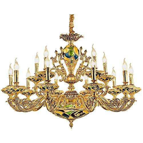 PHLPS Luxurious European Style Candle Chandelier, Artistic Pendant Lamp Ceiling Light Retro Duplex Villa Lighting Fixture,for Villa Hall Bedroom Dining Room Bathroom Livingroom