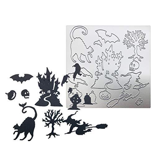 Halloween Metall Stanzformen Kürbis Hexe Geister Dämonen Krähe Katzenbaum Muster Metall Schablone DIY Scrapbook Papier Karte Craft Decor