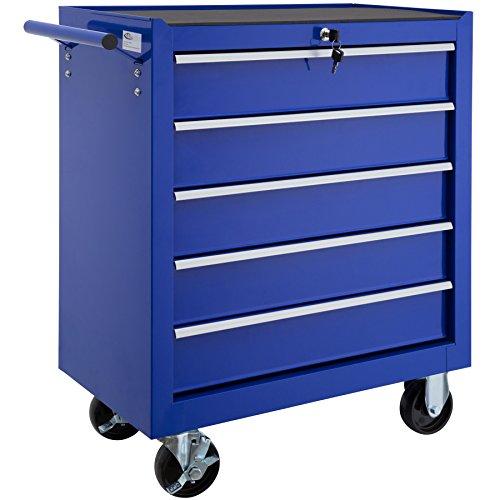 TecTake Werkzeugwagen mit 5 Schubfächer | Abschließbar | Mobiler Werkstattwagen - diverse Farben - (Blau | Nr. 402798)