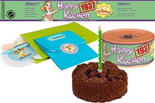 Happy Kuchen | Kuchen in der Dose | Personalisiert mit Wunsch- Geburtsjahr, Namen und Geschmack | Geburtstagsgeschenk | Geschenk | Geschenkidee (Schoko-Kirsch, Geburtsjahr 1937)