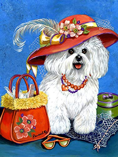 5D Bichon Dog Diamond Painting Accessories for Adults,5D Full Drill Round Rhinestone Diamond Dots Paint, Halloween Christmas Home Wall Decor Gift 13.7x17.7 inch