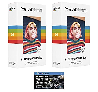 Polaroid Hi-Print 2 x 3 Paper Cartridges - 2 Pack, 40 Sheets - with Microfiber Cleaning Cloth from The Imaging World