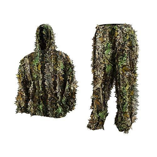 FORWO Ghillie Trajes 3D Hojas Woodland Camuflaje Ropa Ejército al Aire Libre Ropa Militar Camo para Jungle Hunting, Paintball, Airsoft, Fotografía de Vida Silvestre, Halloween (Adulto)