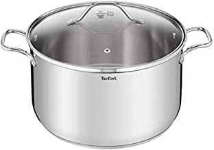 Tefal B9086314 Intuition XL Large Stainless Steel Stock Pot 26 cm (7.8 L) with Glass Lid for All Heat Sources Including In...