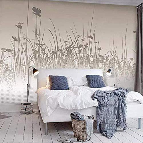 Mssdebz Fototapete 3D Effekt Tapete Vintage Gänseblümchen Silhouette Gras Vliestapete 3D Wallpaper Moderne Wanddeko Wandbilder-350cmx245cm