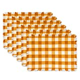 DII CAMZ37572 Heavyweight Fringed MT Check S/6, Placemat, Checkered Pumpkin Spice 6 Piece