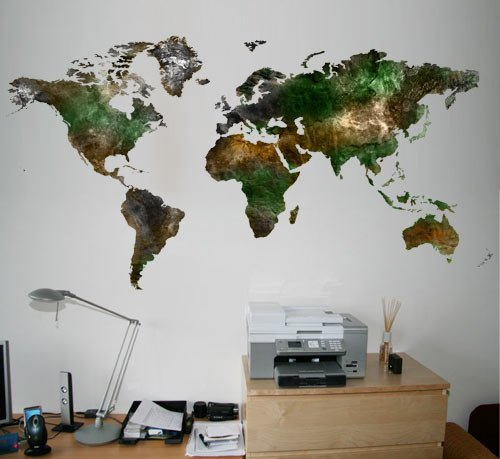 Moonwallstickers World Map Satellite View – Adesivo in Vinile 272 x 145 cm | 272 x 145 cm