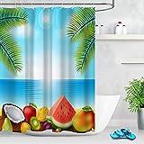 FGHJK Tropische Strandfrucht Wassermelone Duschvorhang wasserdichte Toilette Dekoration Badezimmer