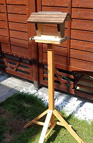 vogelhaus mit ständer BTVK-VOFU2G-MS-at001 NEU PREMIUM-Qualität,Vogelhaus,mit ständer, 3D-SILO - VOGELFUTTERHAUS MIT 2 GROSSEN SICHTSCHEIBEN Qualität Schreinerware 100% Massivholz - VOGELFUTTERHAUS MIT FUTTERSCHACHT-Futtersilo Futterstation Farbe schwarz lasiert, anthrazit / Holz natur, Ausführung Naturholz, mit KLARSICHT-Scheibe zur Füllstandkontrolle