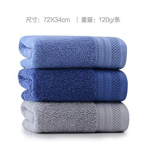 Redhj handdoekhouder handdoekhouder handdoekhouder absorptiezoet water voor huishoudelijk gebruik ter verhoging van het wassen handdoek 3 strepen 72 x 34 cm 05 (donkerblauw 1 lichtblauw 1 lichtgrijs)