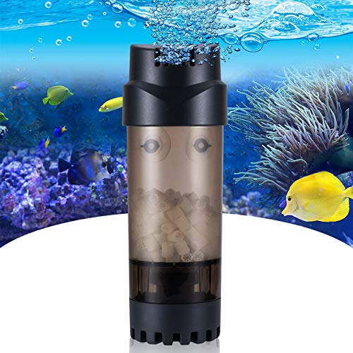 AQQA Aquarium Fluidized Moving Bed Filter,Media Submersible Sponge Filter with Air Stone Ultra-Silence Dissolved Oxygen,Air Pump Accessories,for Fresh Water and Salt-Water (L 15-55 Gallon)