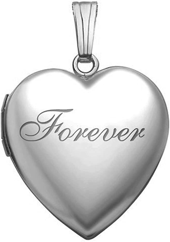 PicturesOnGold.com 14k White Gold Forever Heart Locket - Available in 2 Sizes